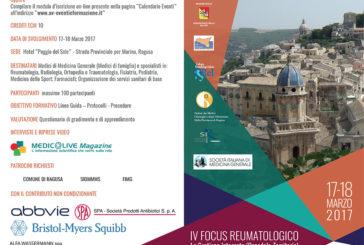 IV° Focus Reumatologico: La Gestione Integrata (Ospedale-Territorio) nelle patologie Reumatologiche alla  luce dei nuovi trattamenti