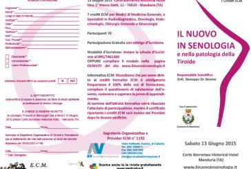 Il nuovo in Senologia e nella patologia della Tiroide
