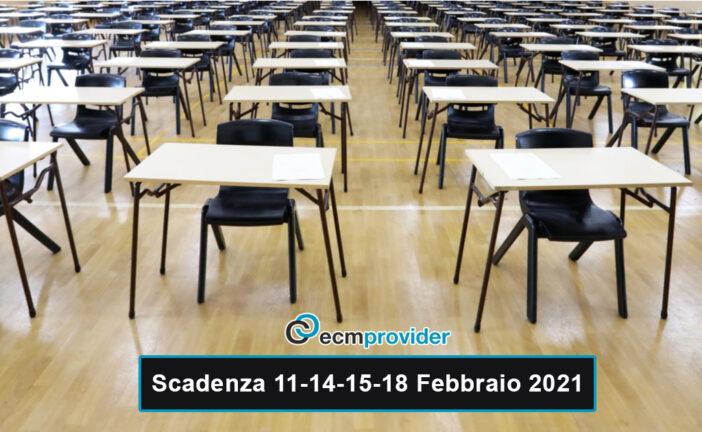 Scadenza concorsi: 11-14-15-18 Febbraio 2021